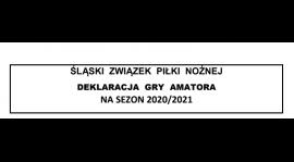 Deklaracja gry amatora na sezon 2020/21 - dokument do pobrania