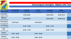 Harmonogram treningów 6.07-12.07