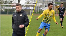 Trener Arkadiusz Bator i Konrad Andrzejczak po wygranej z Pniówkiem