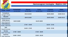 Harmonogram treningów 22.06-28.06