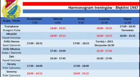 Harmonogram treningów 7.09 - 13.09