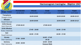 Harmonogram treningów 29.06-5.07