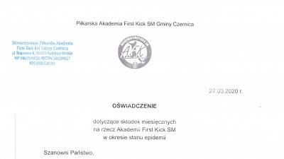 Oświadczenie dotyczące składek miesięcznych na rzecz Akademii w okresie stanu epidemii.