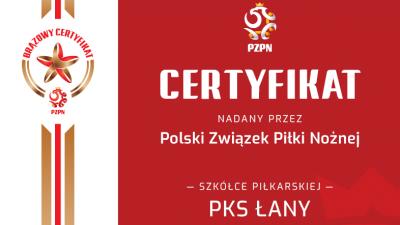 PKS Łany z Certyfikatem PZPN na poziomie brązowym !