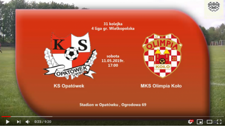 SENIORZY: KS Opatówek - MKS Olimpia Koło 11.05.2019 [VIDEO]