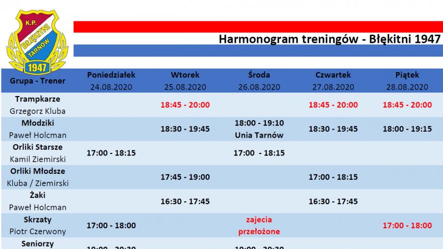 Harmonogram treningów 24.08-31.08