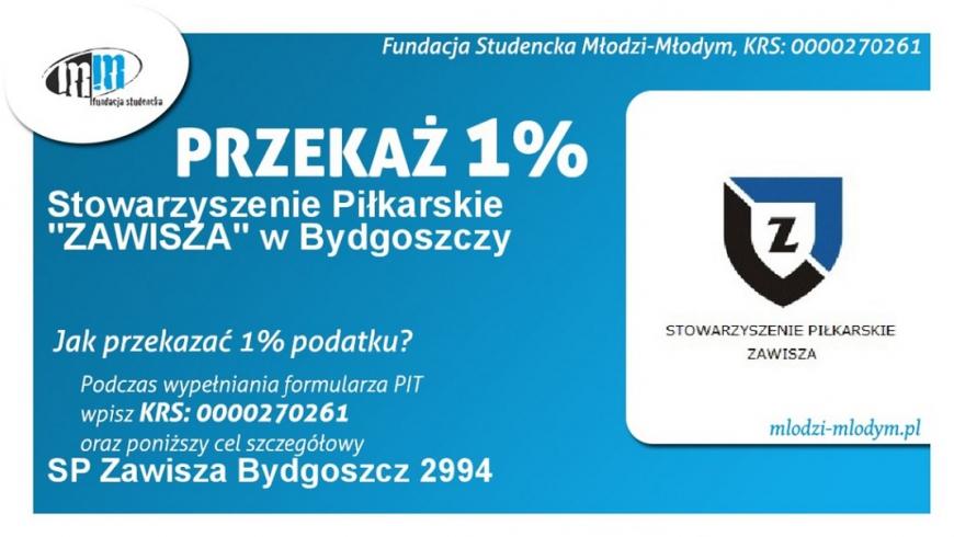 """Stowarzyszenie Piłkarskie """"Zawisza"""" można wesprzeć 1 % podatku"""